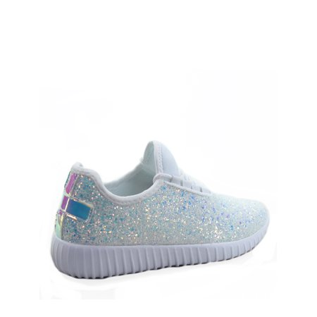 Remy-18 Women's Fashion Flat Glitter Light weight Lace Up Rubber Running Athletic Shoes