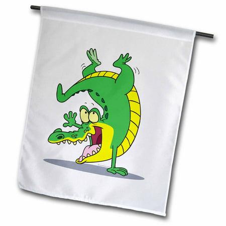 3dRose Happy Alligator Crocodile Cartoon Dancing - Garden Flag, 12 by 18-inch
