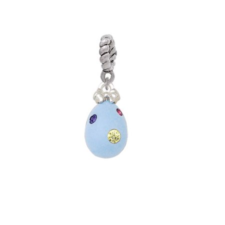 Easter Egg Bead - Silvertone Light Blue Easter Egg with Multicolored Crystal Dots - Rope Charm Bead