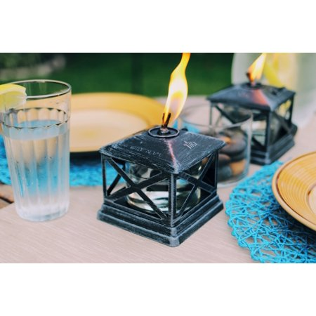 Outdoor Table Top Torch - TIKI® Brand 5.5-Inch Petite Lantern Metal Table Torch Black - 2 pack