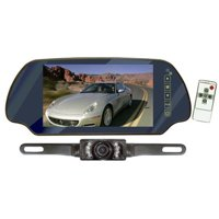 Pyle PLCM7200 7 in. TFT Mirror Monitor with License Plate Mount Rear View Night Vision Camera