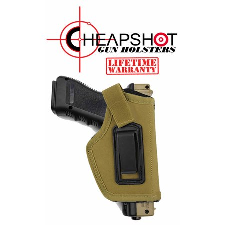 CheapShot KHAKI Ballistic Nylon Cordura IWB Gun Holster Concealed Carry 1911 S&W M&P Shield GLOCK 26 27 29 30 33 42 43 Springfield XD XDS Ruger LC9 Pistol