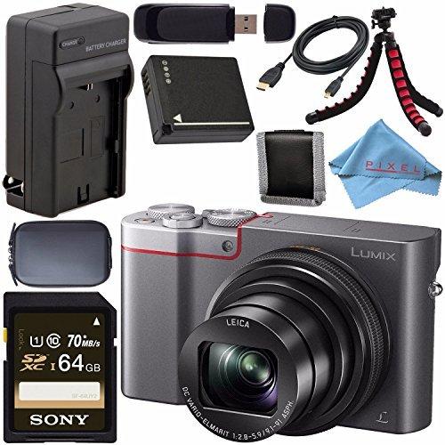 Panasonic Lumix DMC-ZS100 Digital Camera (Silver) DMCZS100S + DMW-BLG10 Lithium Ion Battery + External Rapid Charger + Sony 64GB SDXC Card + Small Case + Flexible Tripod Bundle