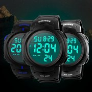EEEKit Mens Military Multifunction Digital LED Watch Electronic Waterproof Alarm Quartz Sports Watch with Alarm, Stop Watch, LED Backlight Display, Military 24H Time Mode