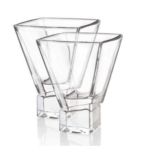 JoyJolt Carre Square Martini Glass 8 oz. Cocktail Glass (Set of 2) by