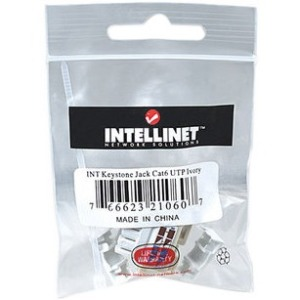 Intellinet Network Solutions Cat6 Keystone Jack, UTP, Punch-Down, Ivory - Compatible With 110 and Krone Punch-Down Tools