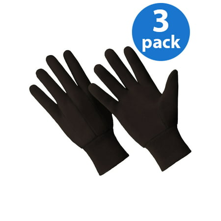 Ride Jersey Gloves (CT7000-L-3PK, 3 Pair Value Pack, Poly/Cotton Blend Brown Jersey)