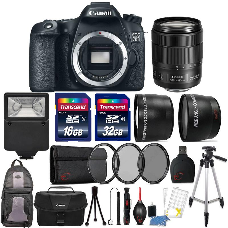 Canon EOS 70D 202MP DSLR Camera with 18135 USM Lens and 48GB Top
