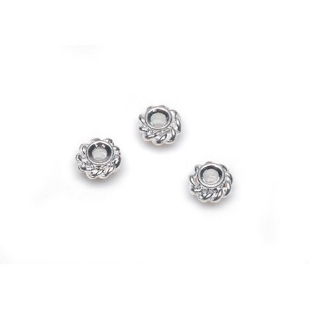 Metal Spacer Beads - Rope Design - Silver - 4Mm
