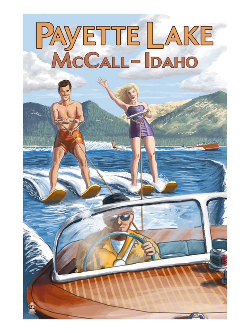 Payette Lake, McCall, Idaho Water Skiing Scene Laminated Print By Lantern Press by Art.com