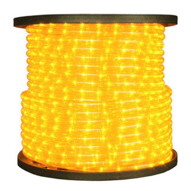 Queens of Christmas C-ROPE-LED-YE-1-10 150 ft.  Spool 10mm Yellow LED Rope Light with 1 inch Spacing  36 inch Cut Length