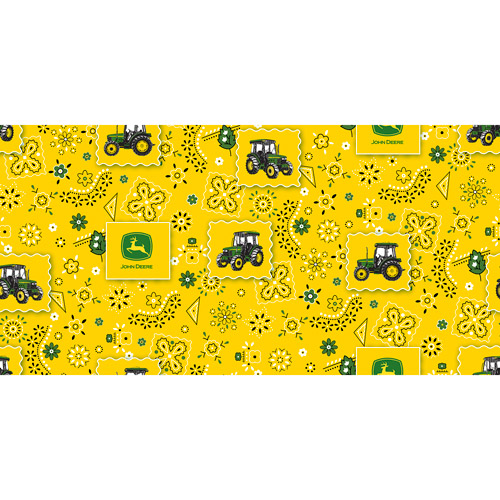 John Deere Cotton Bandana Tractor Patch Fabric, per Yard