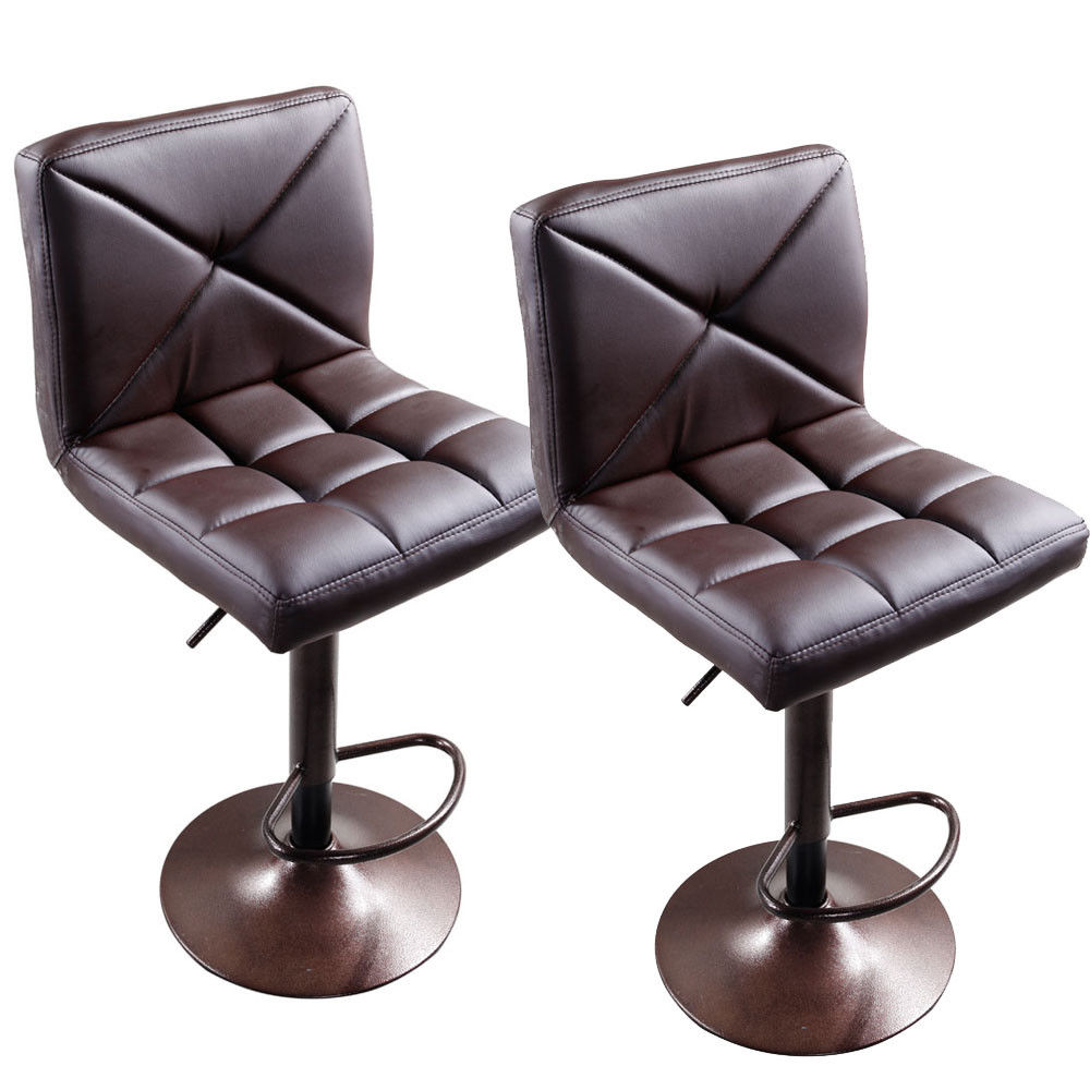 UBesGoo New 2 PACK Adjustable Modern PU Leather Swivel Hydraulic Chair Bar Stools Brown