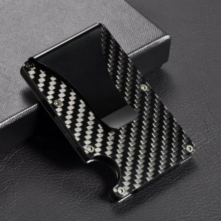 Unisex Carbon Fiber Clip Ultra-Thin Metal Money Clip Can Accommodate Multiple Debit and Credit Cards