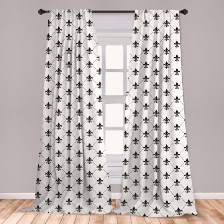 Fleur De Lis Curtains 2 Panels Set, French Damask Composition Monochrome Pattern Royal Classic Insignia Motif, Window Drapes for Living Room Bedroom, Black White, by Ambesonne