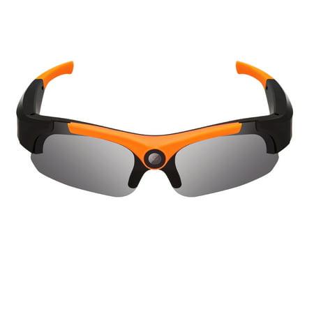 HD 1080P Sunglasses Camera Wide Angle 120 Degrees Mini Camera DV Video Camera Smart Glasses for Outdoor Wide angle + orange (Smart Camcorder)
