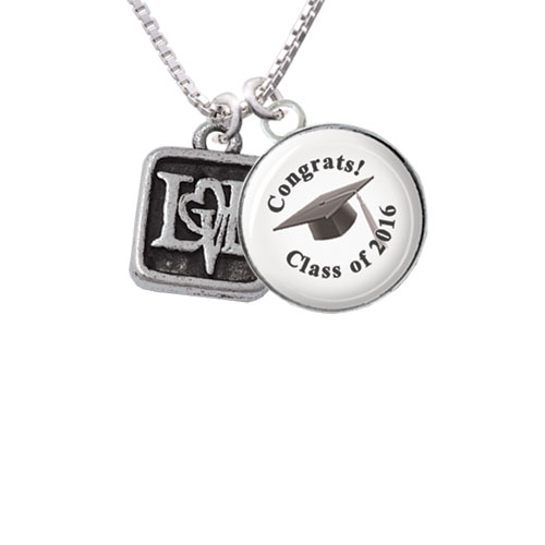 "Antiqued Square Seal - Love with Heart Class of 2016 Glass Dome Necklace, 18""+2"""