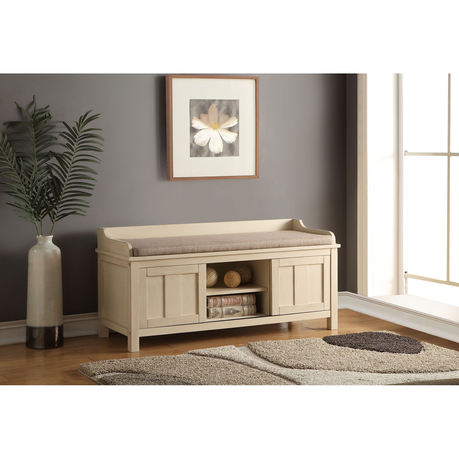 ACME Rosio Storage Bench, Fabric U0026 Cream