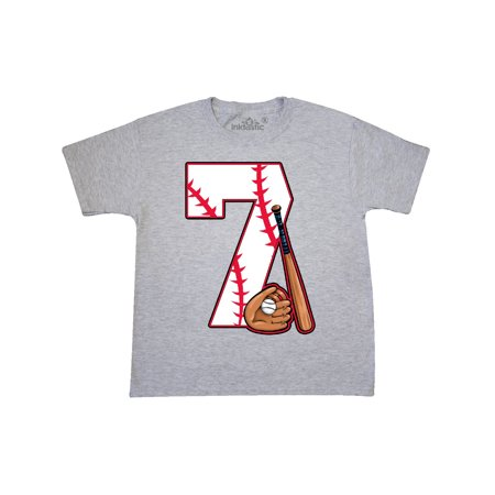 Baseball Seventh Birthday Seven Years Old Youth T Shirt