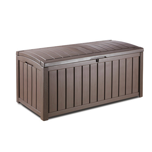 Keter Glenwood Outdoor Patio Furniture 101 Gallon Plastic Deck Box