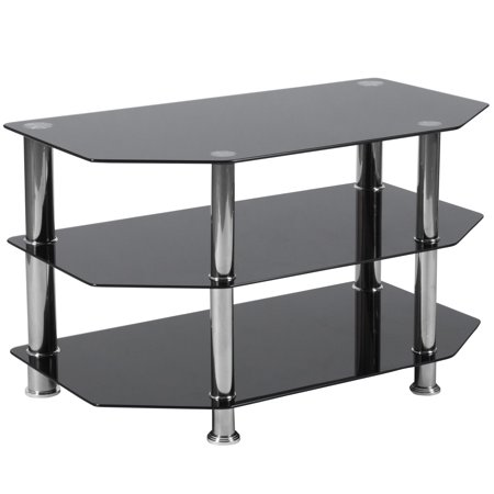 Single Metal Stand - Flash Furniture North Beach Black Glass TV Stand with Stainless Steel Metal Frame