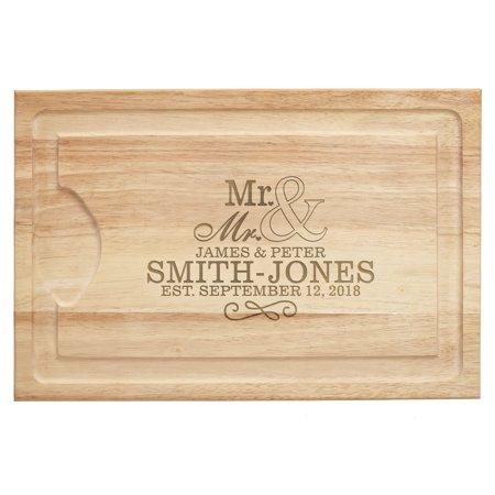 Personalized Happy Couple Wood Cutting Board - Mr. & Mr. - Bridal Shower Gift