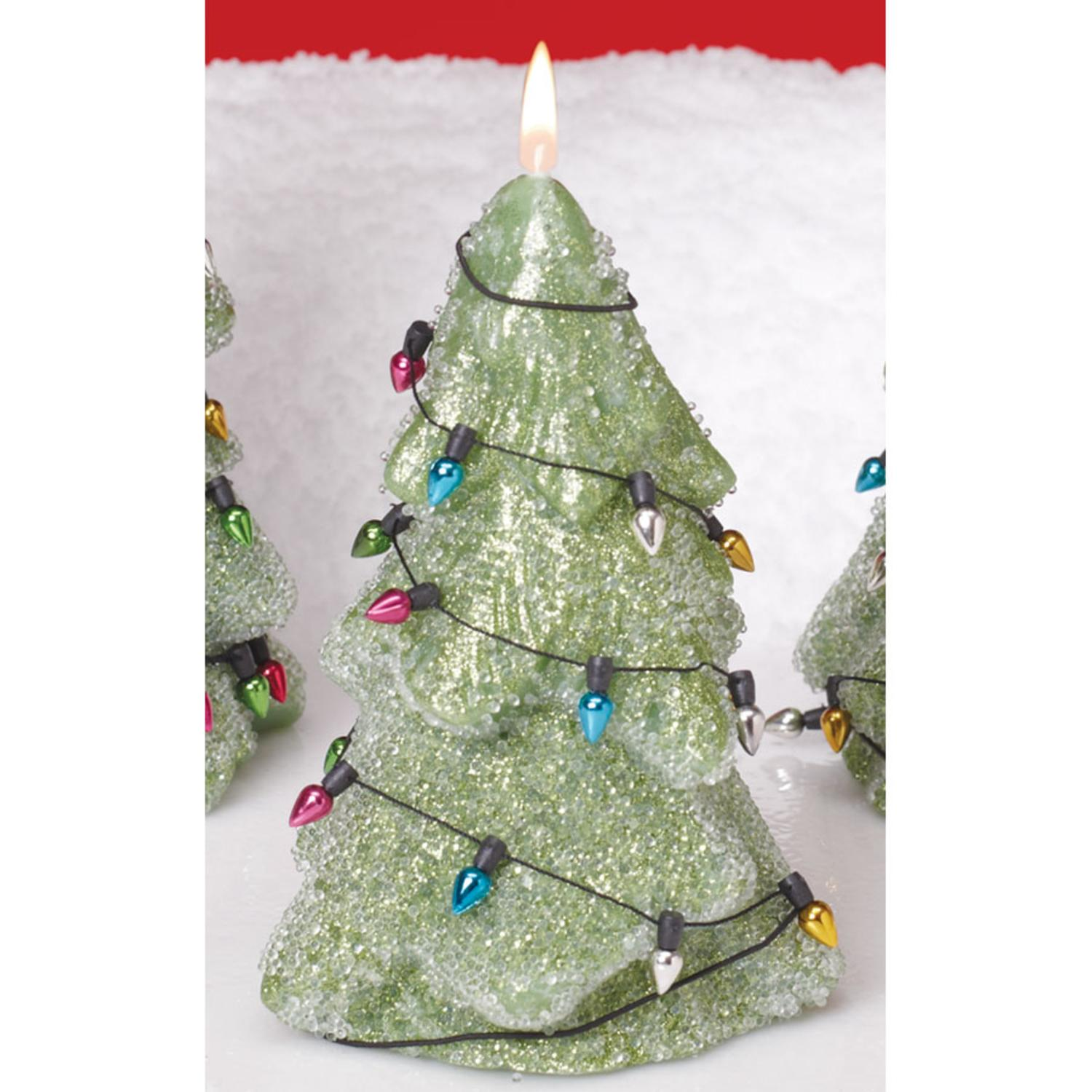 "Pack of 6 Mint Green Sparkling Christmas Tree Candles 5"" - Unscented"