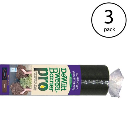 DeWitt Weed Barrier Pro 3 Ounce Landscape Fabric in Black, 4' x 100' (3 Pack)
