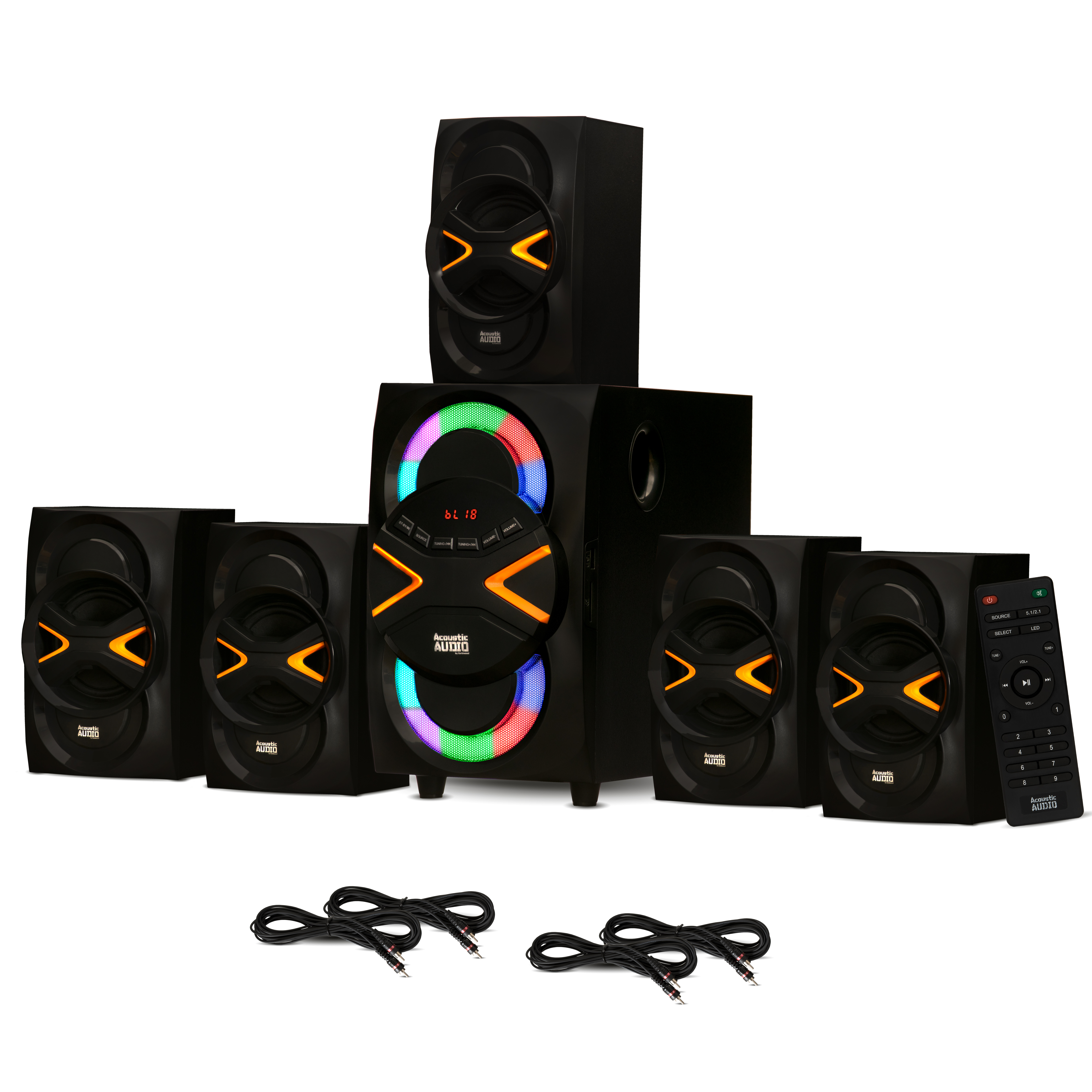 Acoustic Audio AA5210 Home Theater 5.1 Speaker System with Bluetooth LED Lights and 4 Extension Cables