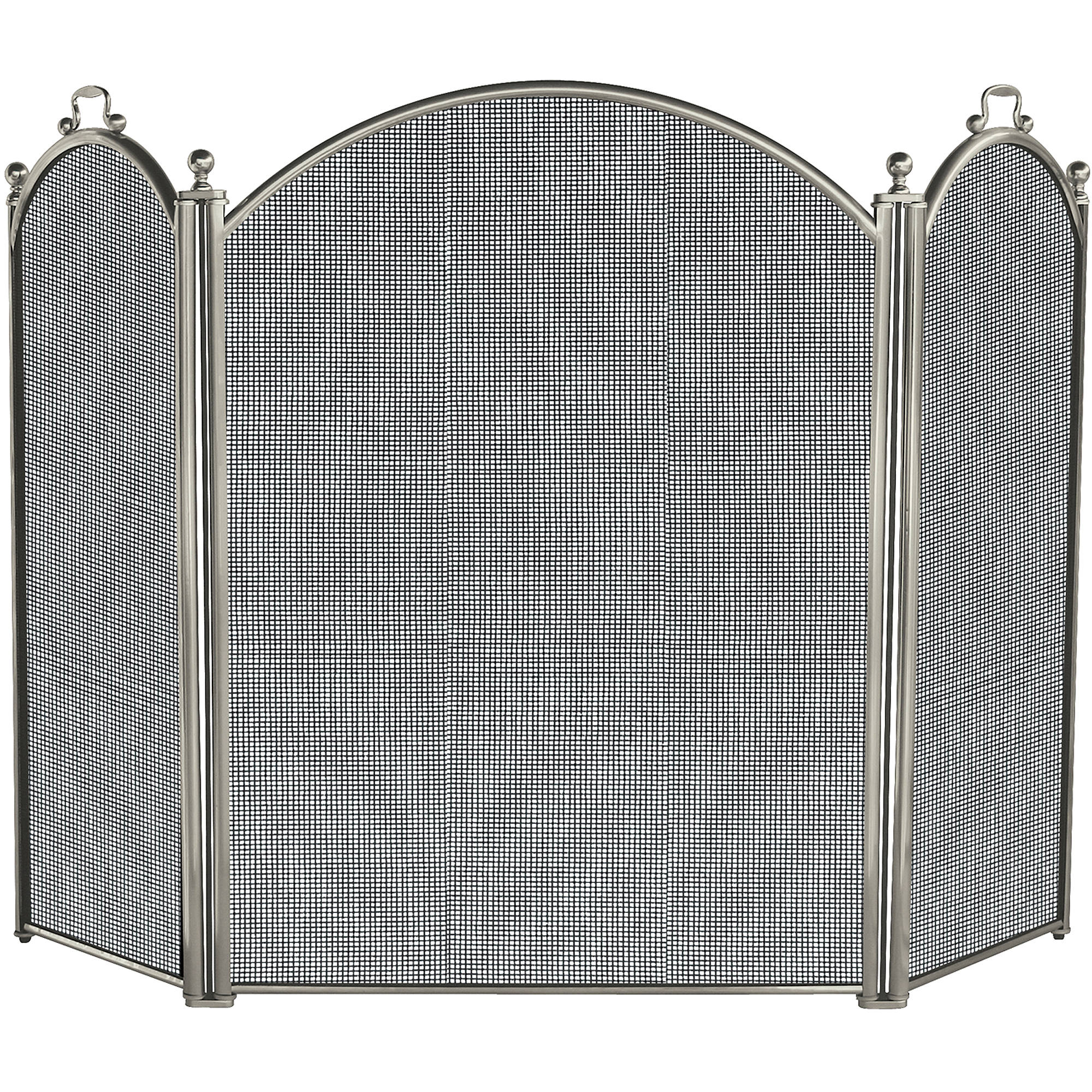 3-Fold Satin Pewter Fireplace Screen by UniFlame