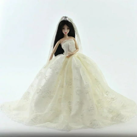 White Fashion Gorgeous Wedding Bridal Gown Dress with Veil For Doll Gift - image 3 of 4