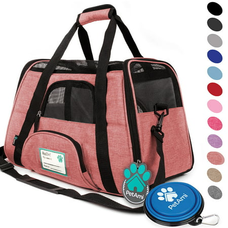 Premium Airline Approved Soft-Sided Pet Travel Carrier by PetAmi | Ventilated, Comfortable Design with Safety Features | Ideal for Small to Medium Sized Cats, Dogs, and Pets (Pink Pet Carrier)