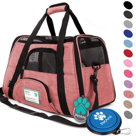 Premium Airline Approved Soft-Sided Pet Travel Carrier by PetAmi | Ventilated, Comfortable Design with Safety Features | Ideal for Small to Medium Sized Cats, Dogs, and - Small Pet Travel Gear