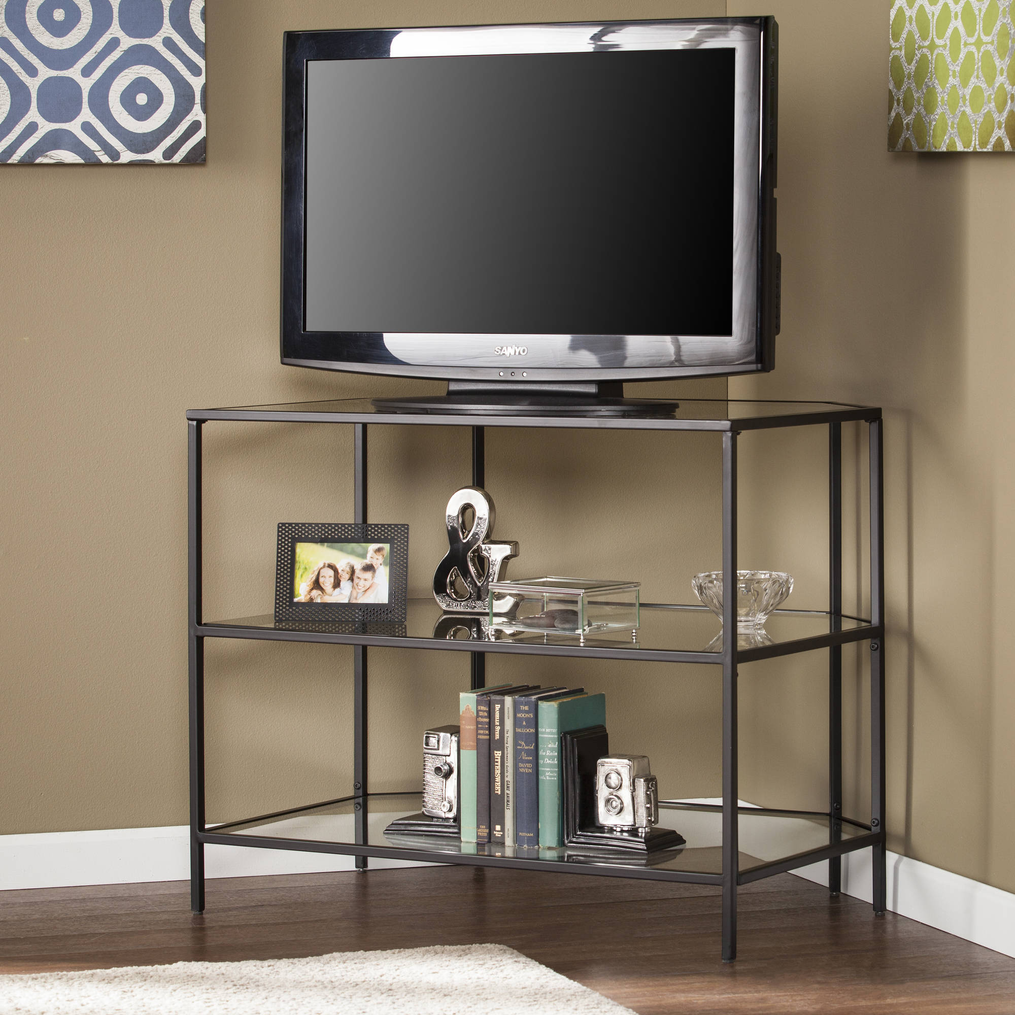 Southern Enterprises Martyn Metal/Glass Corner-Optional TV Stand, Black