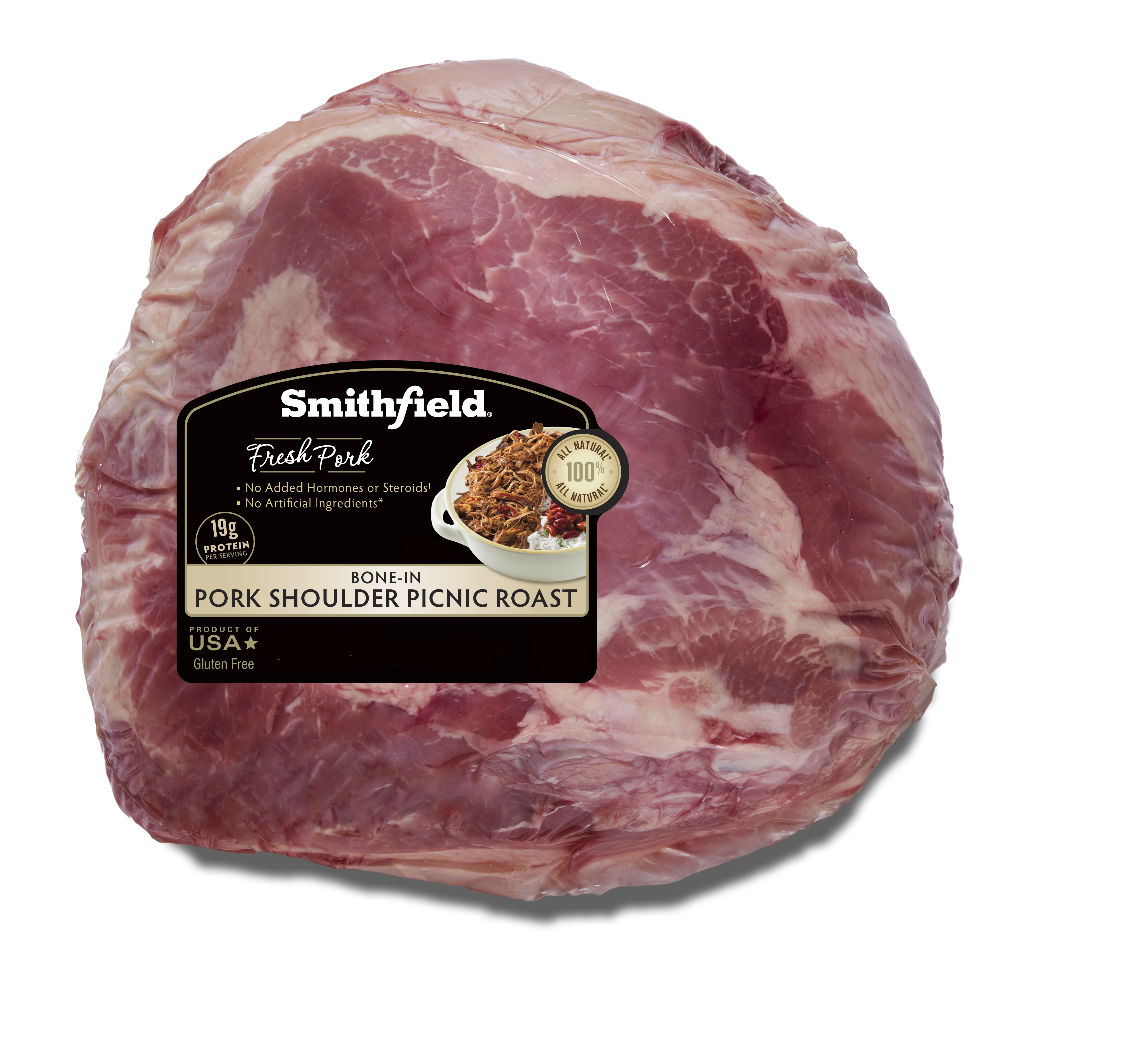 Smithfield Fresh Pork Shoulder Picnic Roast, Bone In, Half, No Artificial Ingredients, Ready to Cook, 6 - 6.5 lbs