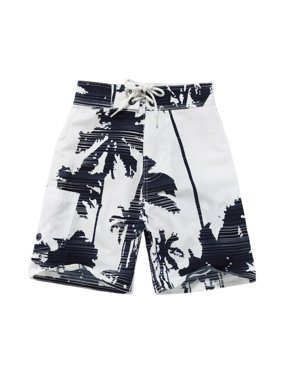 Boy Hawaiian Swimwear Board Shorts with Tie in White with Navy Palm Print 12 Year Old