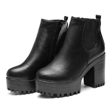 Meigar Winter Women's Chel-sea Chunky Shoes Ankle Boots Platform Block High Heels (Best Winter Chelsea Boots)