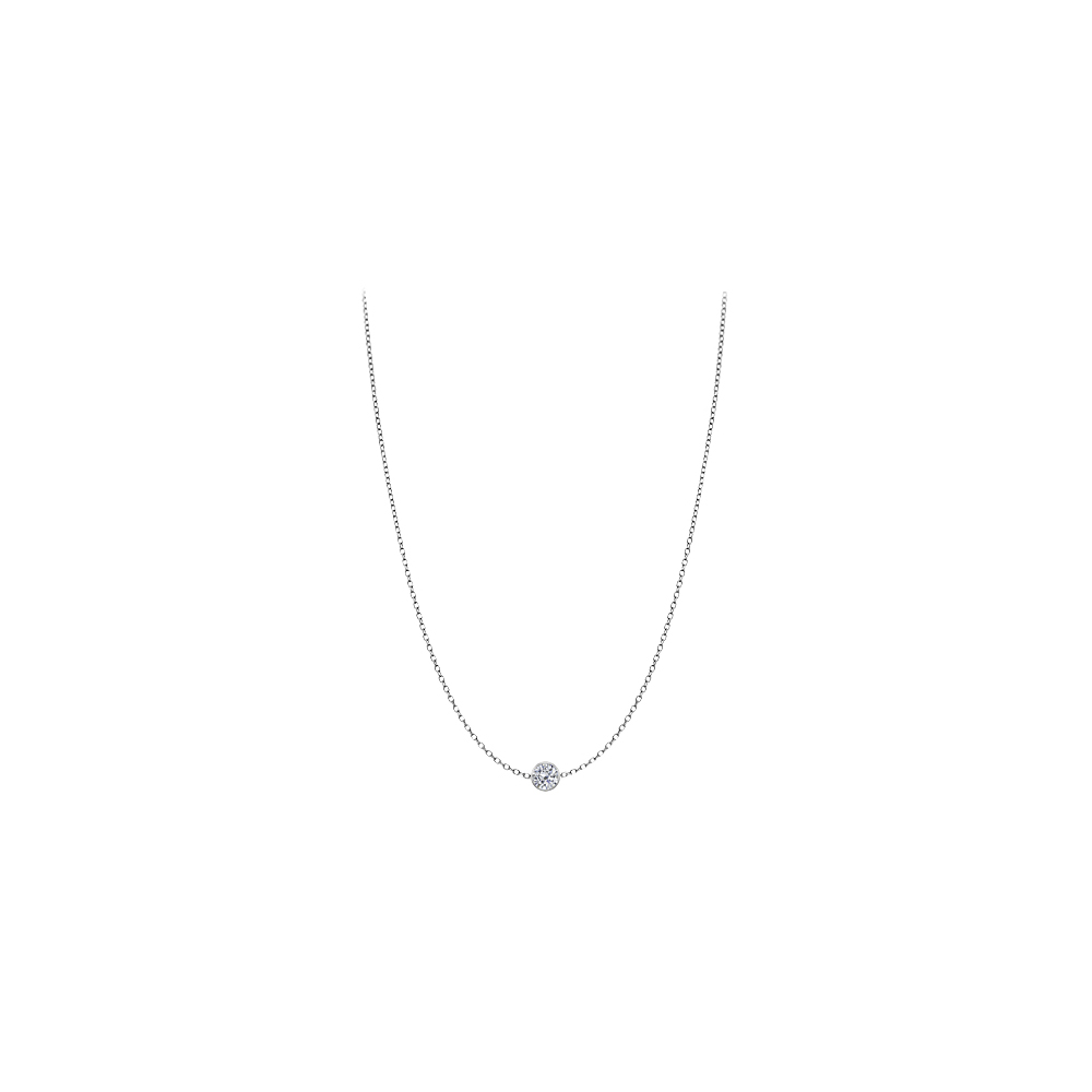 Diamond Necklace in 14K White Gold Bezel Set 0.20 ct.tw by Love Bright
