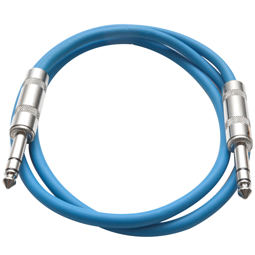 "Seismic Audio  - Blue 1/4"" TRS 2' Patch Cable - Effects Blue - SATRX-2Blue"