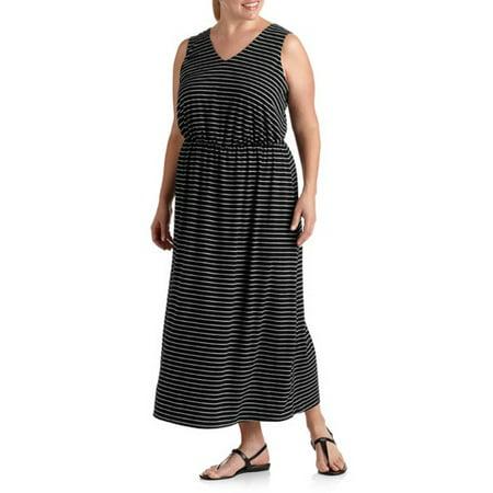 Faded Glory - Women\'s Plus-Size Striped Maxi Dress - Walmart.com