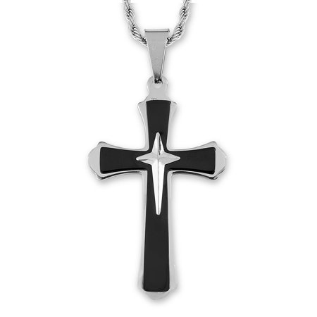 - West Coast Jewelry Men's Two-Tone Stainless Steel Flared Triple Layer Cross Pendant