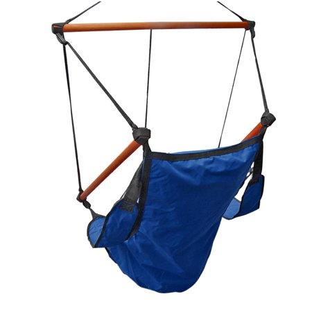 Fall Arrest Rope - Hanging Rope Hammock Chair (Blue) Air Deluxe Sky Swing Outdoor Seat Solid Wood 250lb with Pillow Arm Arrest Footrest and Drink Holder for Patio Furniture Camping Travel Porch Lounge