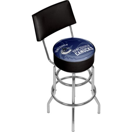 NHL Swivel Bar Stool with Back - Watermark - Vancouver Canucks