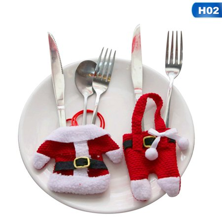 Fancyleo Casual Christmas Desktop Decoration Christmas Knife And Fork Set Christmas Cutlery Set Christmas Small Clothes Small Pants Cutlery Silverware Bag Decoration ()