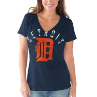 Detroit Tigers G-III 4Her by Carl Banks Women's Round the Bases V-Neck T-Shirt - Navy