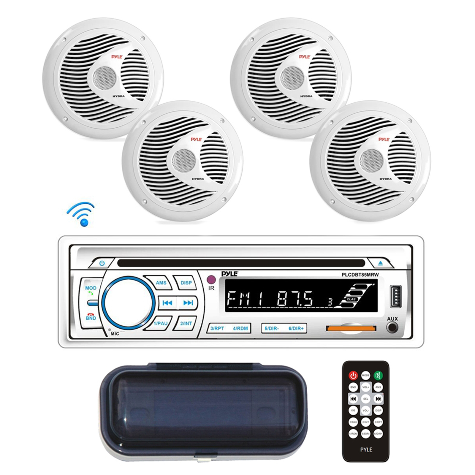 "BT Marine Stereo Radio Receiver & Waterproof Speaker Kit, Hands-Free Talking, CD Player, MP3/USB/SD Readers, AM/FM Radio, (4) 6.5"" Speakers"