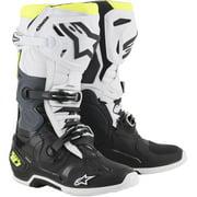 Alpinestars Tech 10 Boots Black/White/Yellow Fluid (Black, 8)