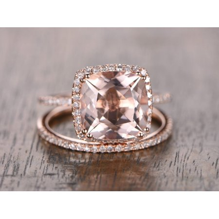 Cut Bridal Ring Set (2 Carat Cushion cut Real Morganite and Diamond Bridal Wedding Ring Set with Engagement Ring and Wedding Band in 18k Gold Over Silver)