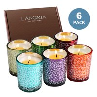 Set of 6 Scented Candles in Glass Made of Organic 100% Soy Wax with 2 inches Diameter and Burning Time 12-15 Hours, for Aromatherapy