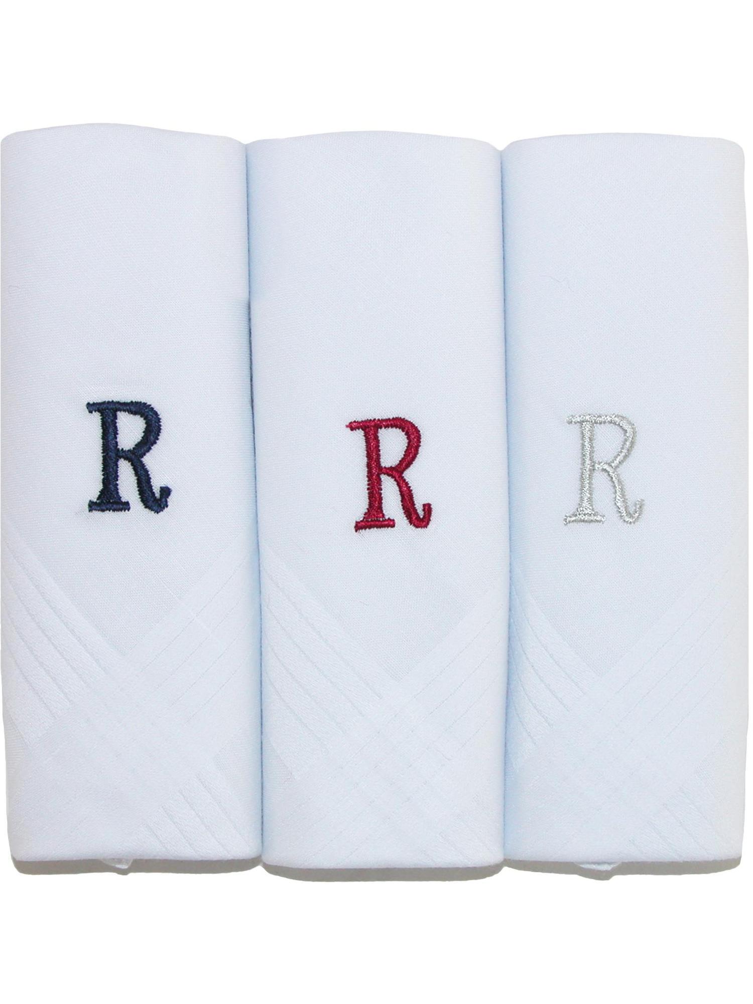 Men's Cotton Boxed Initial Alphabet Handkerchiefs (Pack of 3)